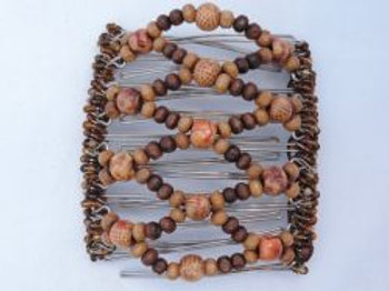 Patterned Brown wood  bead - 9 prongs