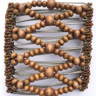 Brown wood  bead - 9 prongs