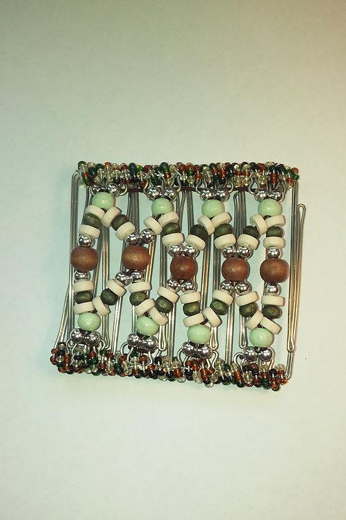 Green & Brown bead - 9 prongs