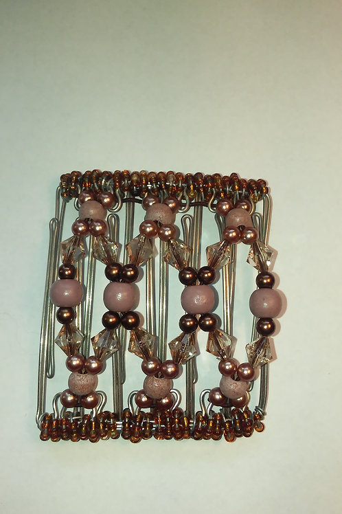 Pink & Brown Bead - 7 prongs