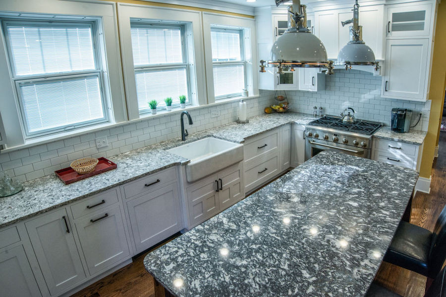 Schrock's white shaker cabinetry and Cambria quartz countertops.