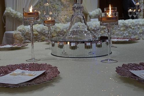 Table Top Circular Mirrored Plinth