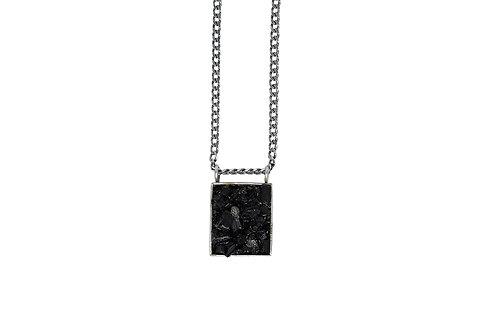 Colar Caixa Retangular Turmalina Negra