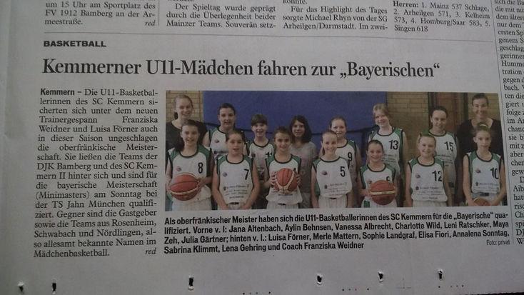 """Kemmerner U11-Mädchen fahren zur """"Bayerischen"""""""