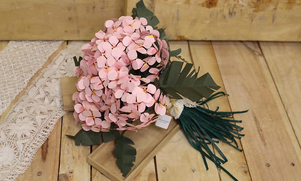 Ramo de hortensias de papel rosa