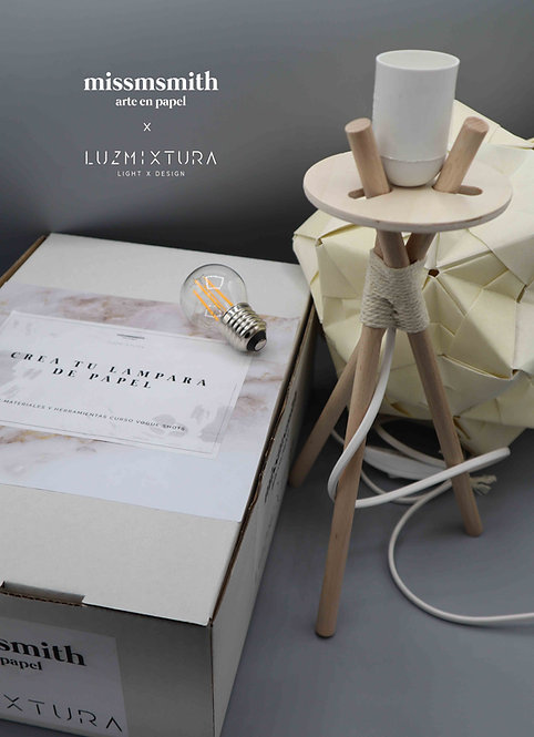 Cajita herramientas y materiales 'Crea tu lámpara de papel' curso Vogue Shots