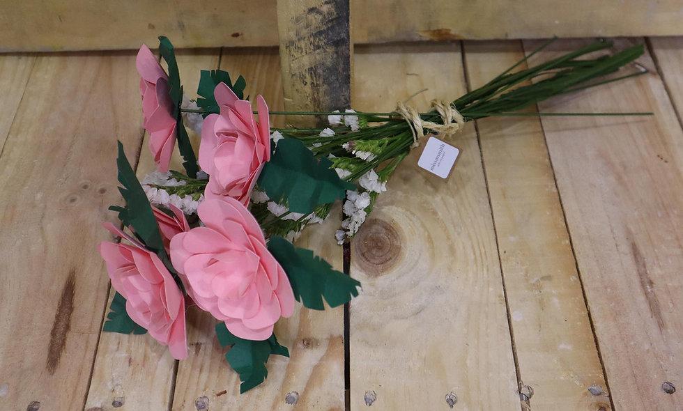 Ramillete de 5 rosas rosas