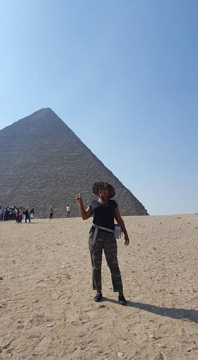 In front of the Pyramids