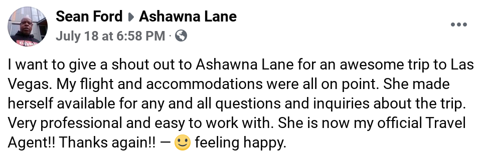 sean ford review testimonial ashawna lane travel agent business woman