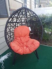 egg chair oval bamboo wicker orange cush