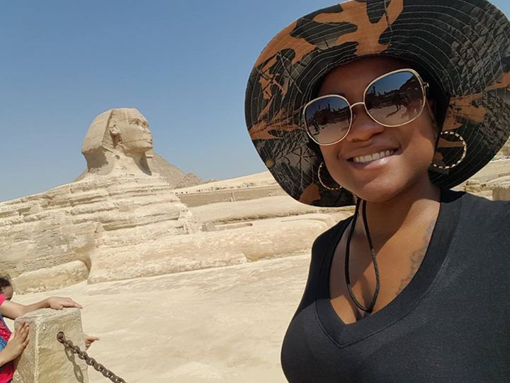 In front of the Sphinx and Giza Pyramids