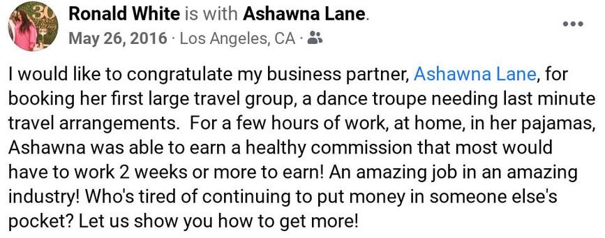 ashawna lane review testimonial travel agent book