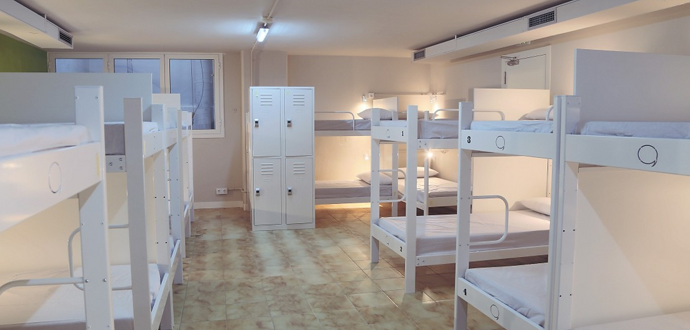 image of a shared dormitory in a hostel
