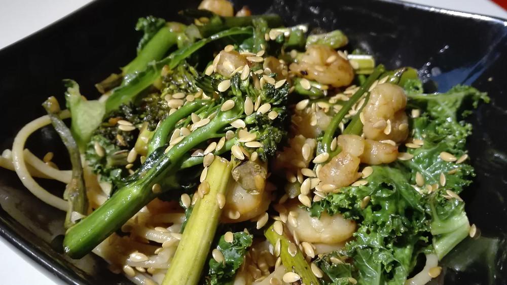 pasta vegetales camarones