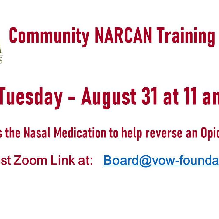 NARCAN Training 8/31 at 11 AM