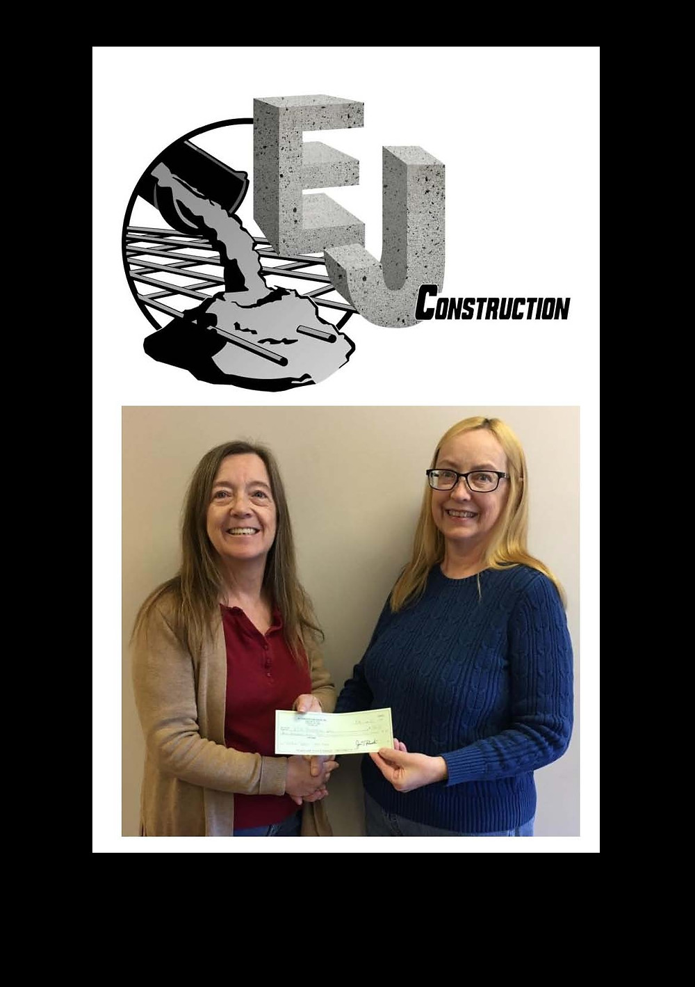 Bonnie Caza, Office Manager of EJ Construction Group, with Teresa Woolson