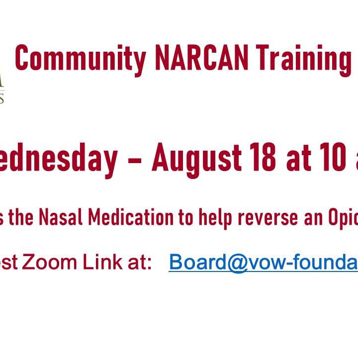 NARCAN Training 8/18 at 10 AM