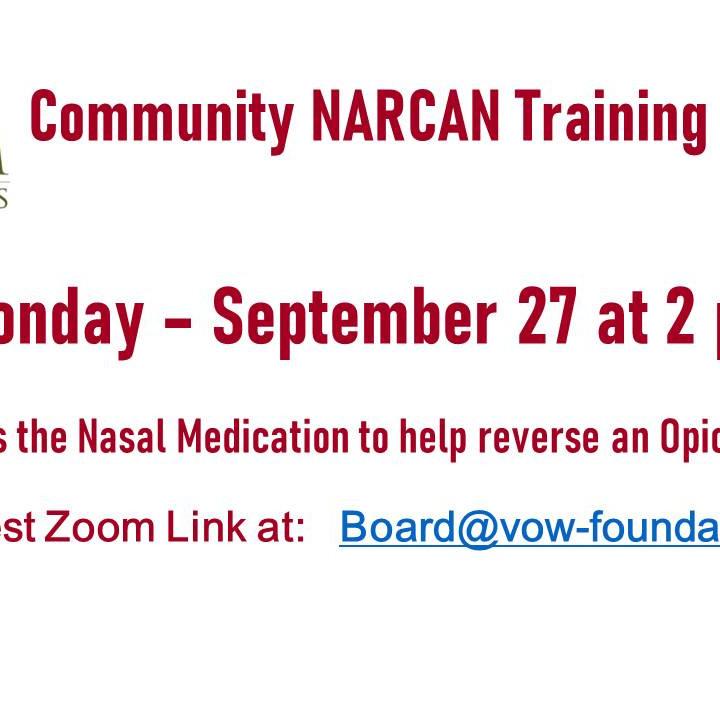 NARCAN Training 9/27 at 2 PM
