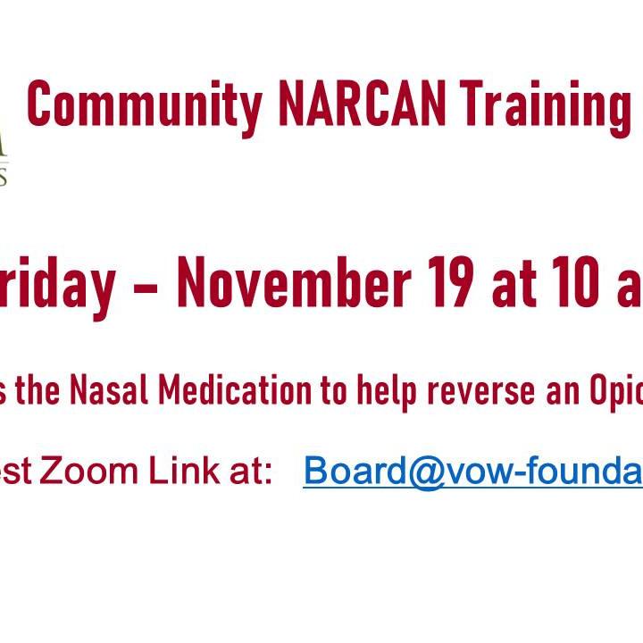NARCAN Training 11/19 at 10 AM