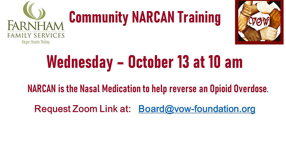 NARCAN Training 10/13 at 10 AM