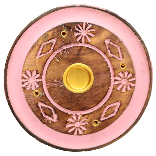 Decorative Round Painted Leaf Wooden Incense Burner Ash Catcher Novelty Gift