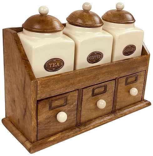Three Ceramic Jars With Wooden Drawers Shipping furniture UK