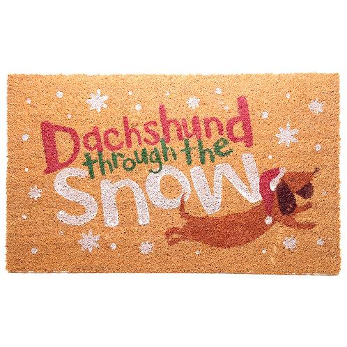 Coir Door Mat - Dachshund Through the Snow Christmas Design Novelty Gift
