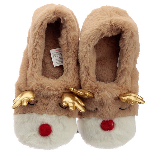 Christmas Reindeer Microwavable Heat Wheat Pack Slippers Novelty Gift