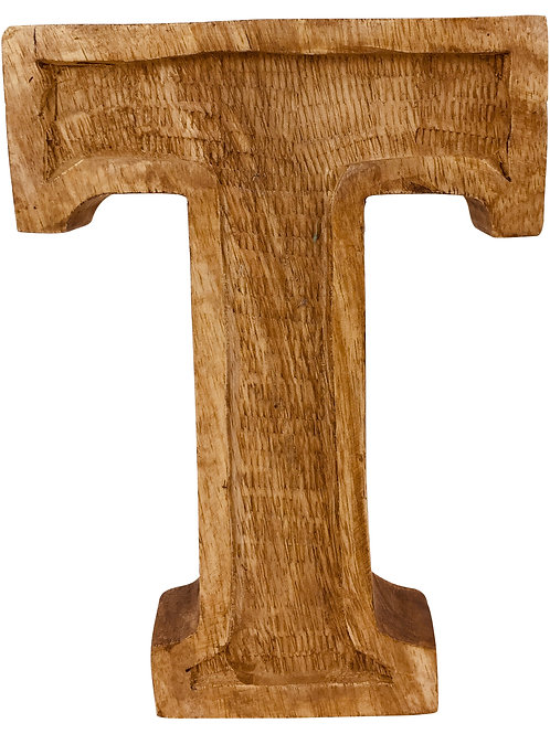 Hand Carved Wooden Embossed Letter T Shipping furniture UK