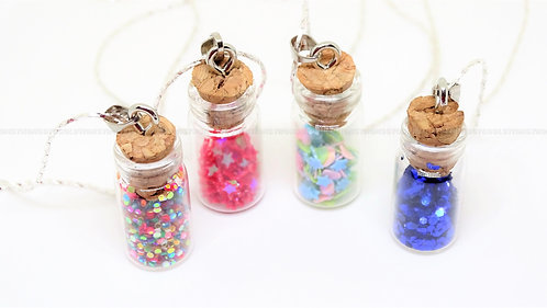 Stars and Glitter Sparkle Bottle Necklace