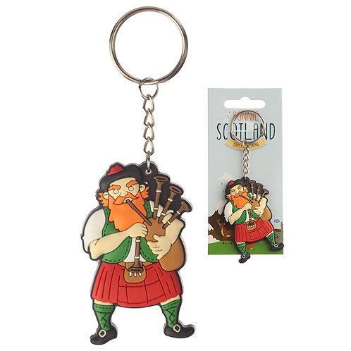Novelty PVC Keyring - Scottish Piper Novelty Gift