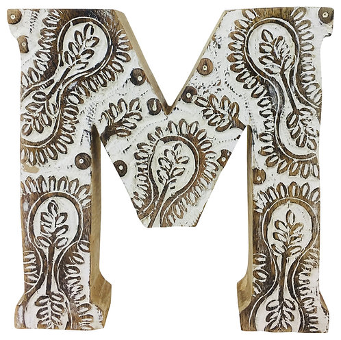 Hand Carved Wooden White Flower Letter M Shipping furniture UK