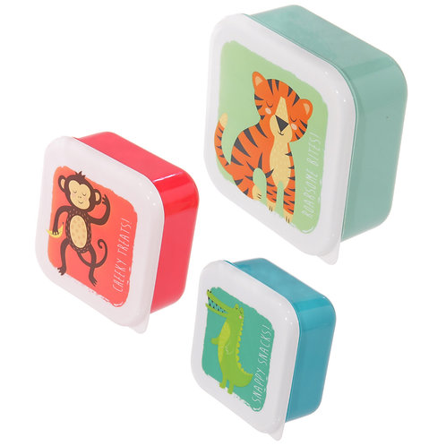 Fun Zoo Animals Design Set of 3 Plastic Lunch Boxes Novelty Gift