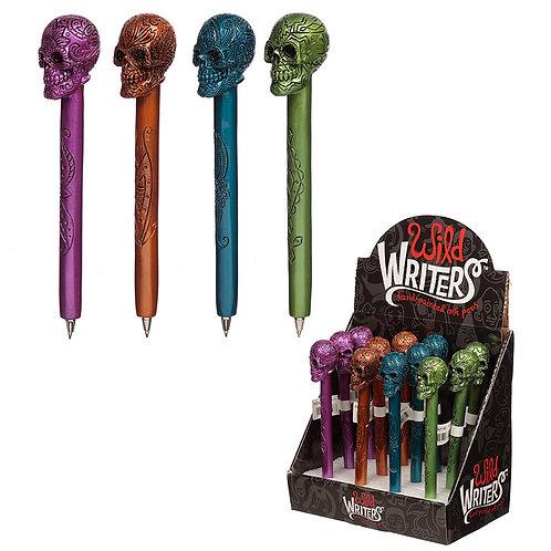 Fun Metallic Skull Novelty Pen Novelty Gift [Pack of 2]