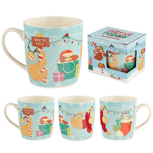 Christmas Porcelain Mug - Festive Friends Sloth Novelty Gift