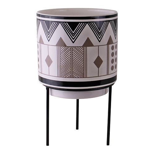 Aztec Inspired Design Ceramic Planter With Stand, Small Shipping furniture UK
