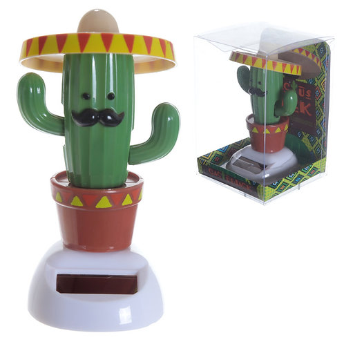 Novelty Gift Fun Collectable Cactus wearing Sombrero Solar Powered Pal