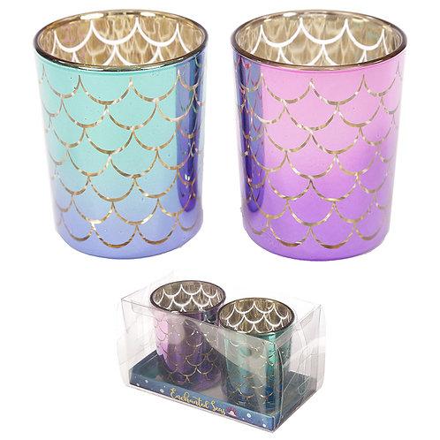 Glass Candleholder Set of 2 - Mermaid Tail Design Novelty Gift