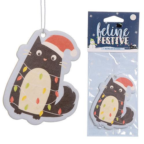 Nutmeg Scented Christmas Cat Festive Feline Air Freshener Novelty Gift