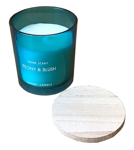 Blue Glass Candle With Wooden Lid - Peony And Blush Shipping furniture UK