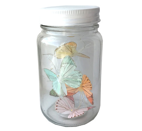 Butterfly Led Light Chain In Glass Jam Jar - Multicoloured Shipping furniture UK