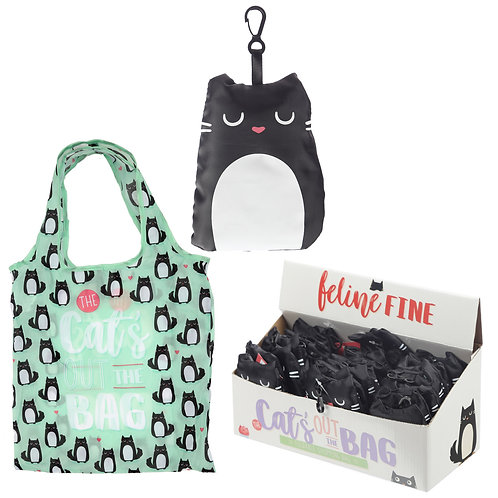 Handy Fold Up Feline Fine Cat Shopping Bag with Holder Novelty Gift