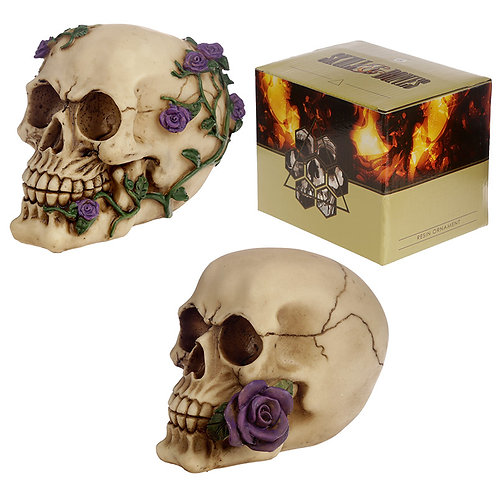 Gothic Skull Decoration with Purple Roses Novelty Gift