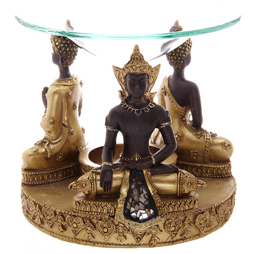 Decorative Gold and Brown Thai Buddha Oil Burner with Dish Novelty Gift