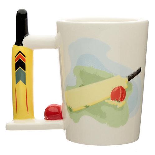 Ceramic Cricket Bat Shaped Handle Mug Novelty Gift