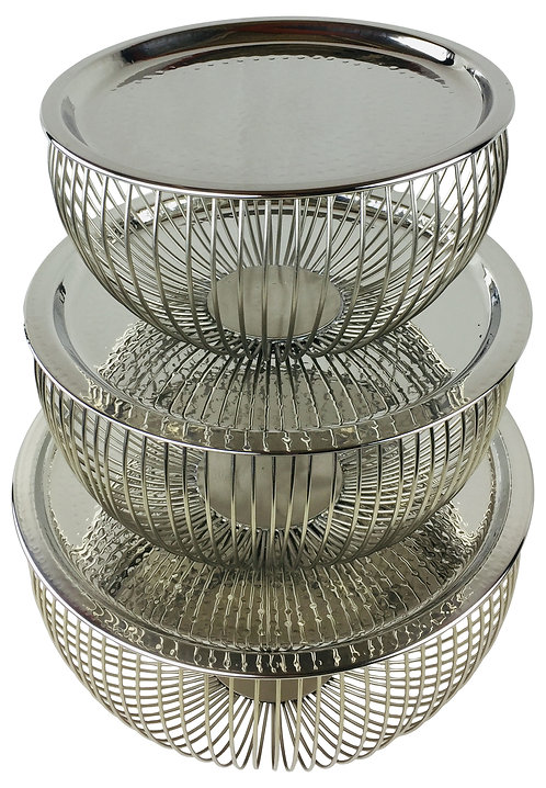 Set Of 3 Silver Bowls With Plate Tops Shipping furniture UK