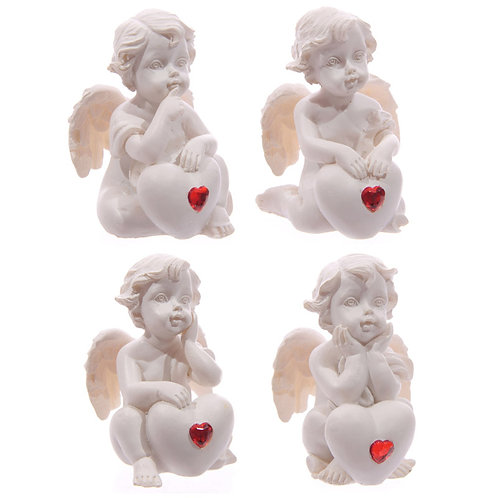 Cute Seated Love Cherub with Red Heart Gem Novelty Gift