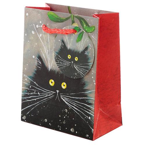 Kim Haskins Cat Christmas 2020 Small Gift Bag [Pack of 2] Novelty Gift