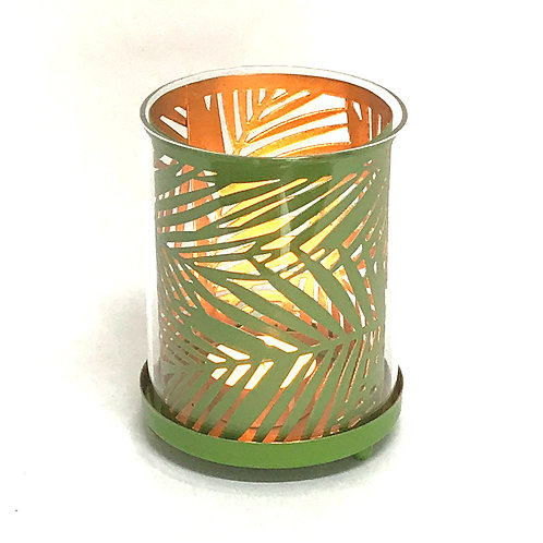 Botanical Metal And Glass Candle Holder - Lawn Green Shipping furniture UK