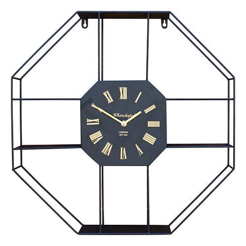 Black Metal Clock With Shelving 53cm Shipping furniture UK